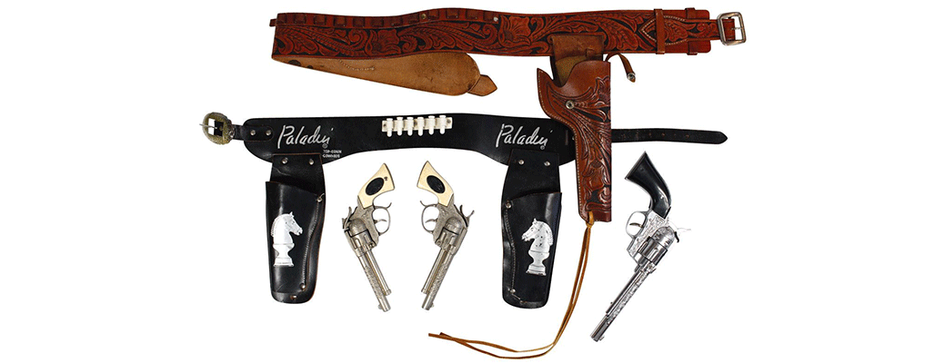 Western toys & books, leather single holster set with Hubley gun
