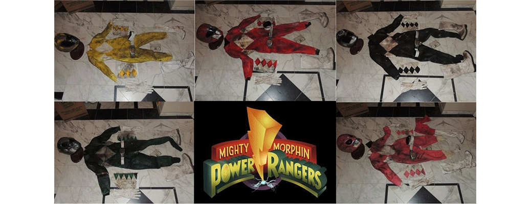 Mighty morphin power rangers complete set of all 5 screen used ranger suits from new tv pilot