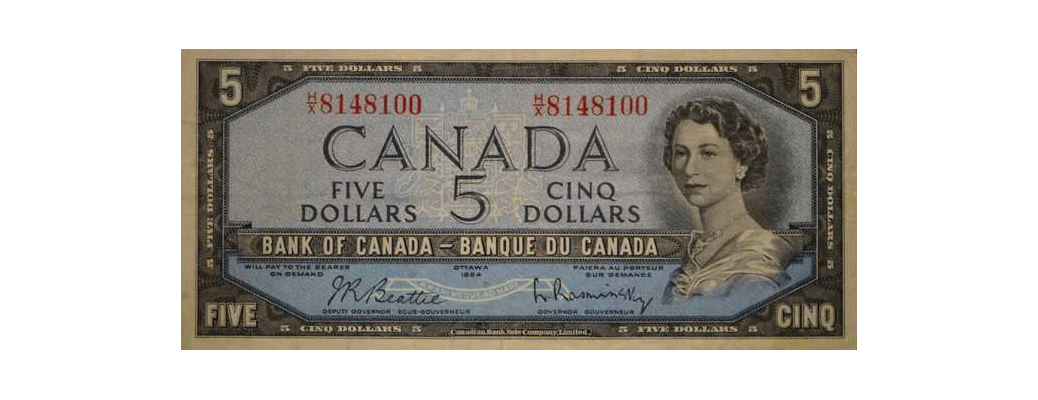 1954 Canadian five dollar bill