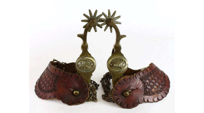 Buermann bronze spurs with Indian head