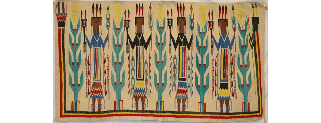 NavajoTextile, 1950s white field, rainbow colors, yei pattern