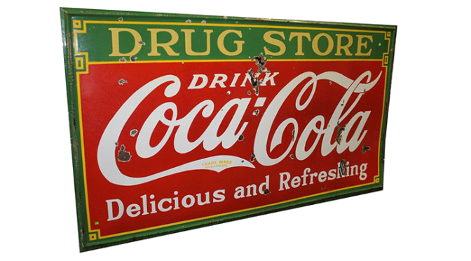 Coca-Cola Drug Store Enamel Embossed Sign