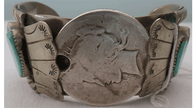 Navajo Watch Bracelet with Silver Dollar