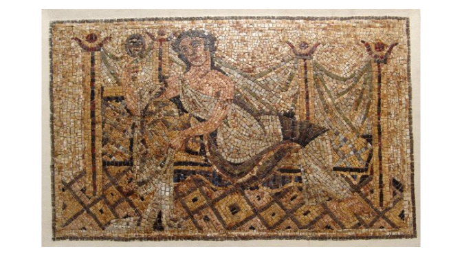Roman mosaic depicting a reclining woman