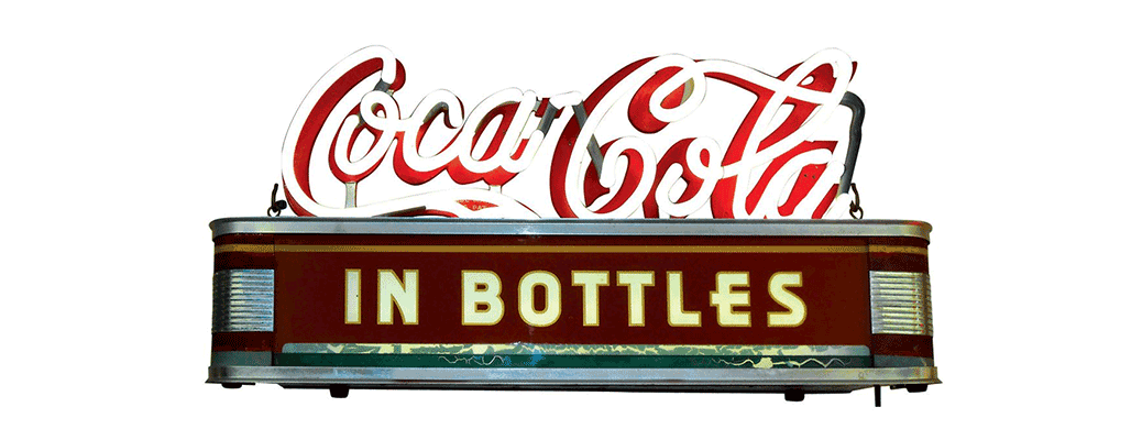 "Coca-Cola neon counter sign, ""Coca-Cola In Bottles"""
