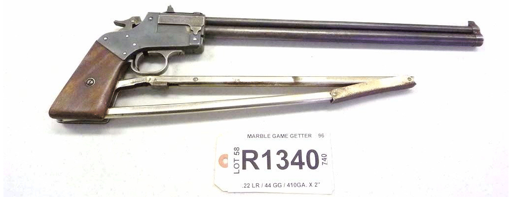 Model game getter 1921, break action pistol with folding stock