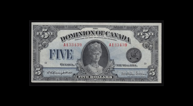 1924 Dominion of Canada Five Dollars
