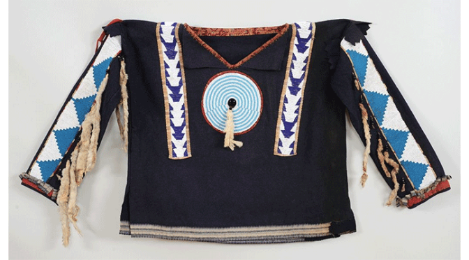 Blackfoot Beaded Man's Wool Shirt ca. 1890-1900, Sinew and Cotton Sewn