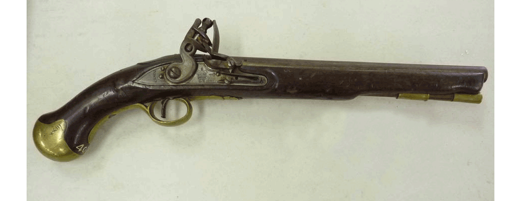 British model, caliber action flintlock pistol